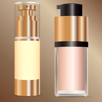 Crema tonal, corrector, base cosmética maqueta set.