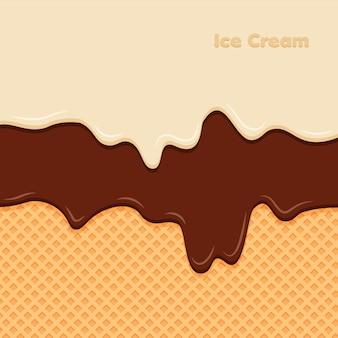 Crema de vainilla y chocolate derretida sobre fondo de galleta