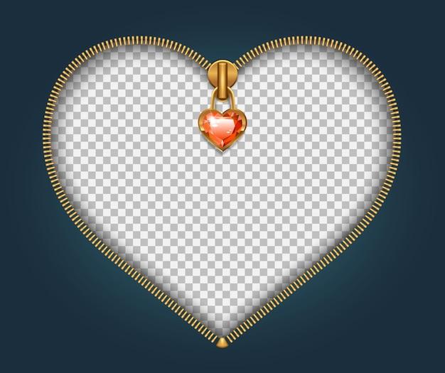 Cremallera con broche en forma de corazón y joya roja. día de san valentín