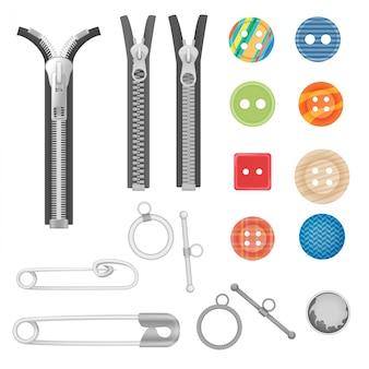 Cremallera metálica y herramientas de costura.