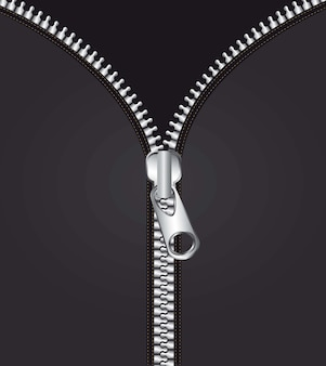Cremallera metálica sobre fondo negro ilustración vectorial