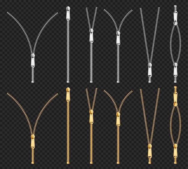 Cremalleras metálicas, cremalleras plateadas doradas con tirador de diferentes formas y cinta de tela negra abierta o cerrada,