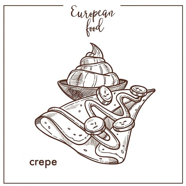 Crepe y helado dibujados a mano