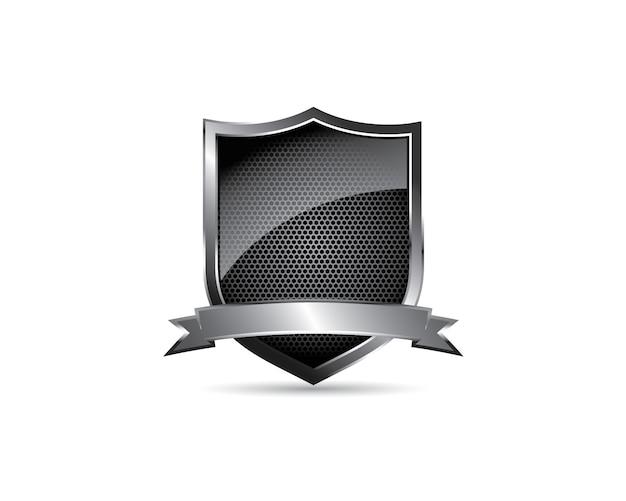 Cresta de escudo en blanco de acero brillante de metal negro con logotipo de emblema de cinta