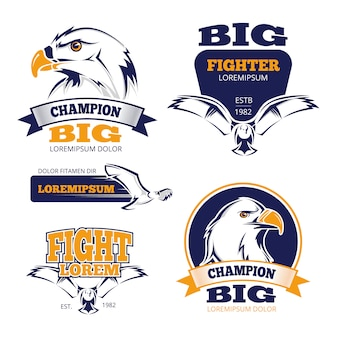 Cresta heráldica militar vector emblemas con águilas.