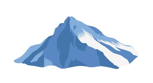 Cresta de la montaña con la cima o cumbre cubierta de hielo aislado sobre fondo blanco. acantilado o monte para turismo de aventura, exploración. forma de relieve natural, hito turístico. ilustración vectorial realista.