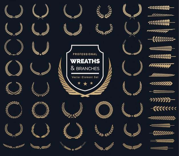Crestas logo elemento set.heraldic logo, guirnaldas de laurel vintage, logo design elements