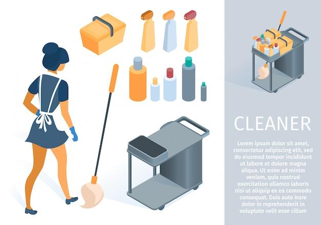 Criada en uniforme con dibujos animados de carro de limpieza