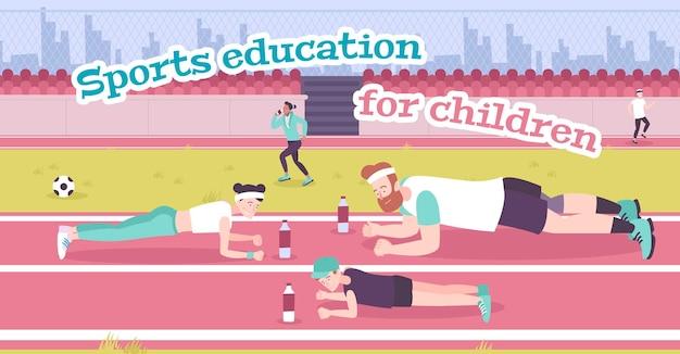 Crianza de los hijos en la ilustración plana de deportes con el padre, la madre y su hijo entrenando en el estadio