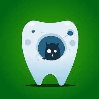 Una criatura dentro de un gran agujero de diente.