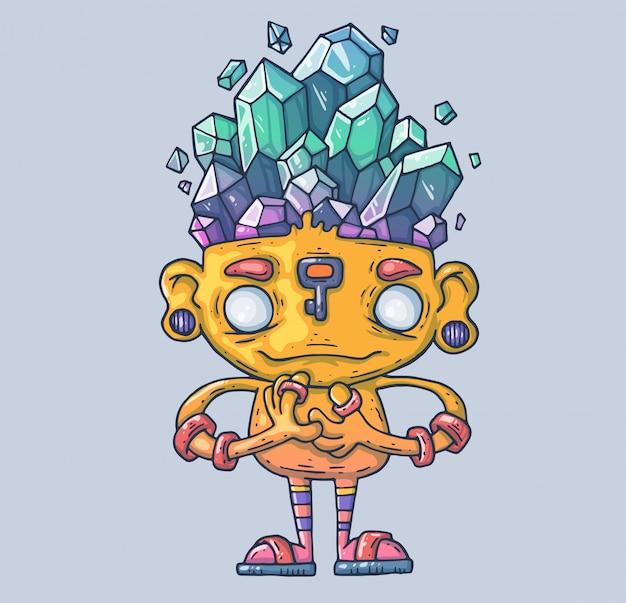 Una criatura divertida con cristales en la cabeza. un fabuloso monje custodiando las piedras mágicas. ilustración de dibujos animados carácter en el estilo gráfico moderno.