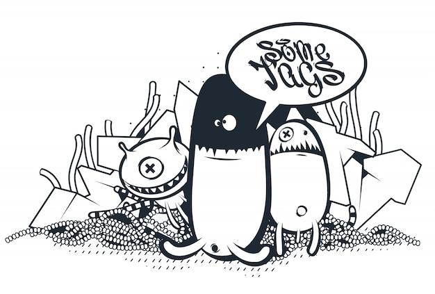 Criaturas dibujadas a mano en estilo graffiti
