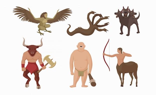 Criaturas míticas grecia. antiguos personajes mitológicos griegos centauro con arco minotauro hacha de batalla.