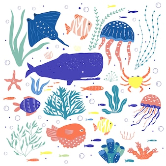 Criaturas submarinas: pulpos, ballenas, peces, medusas, cangrejos, peces payaso, plantas marinas y corales, con animales marinos