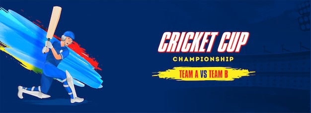 Cricket cup campeonato encabezado o diseño de banner.