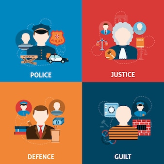 Crimen y castigos composición de iconos planos