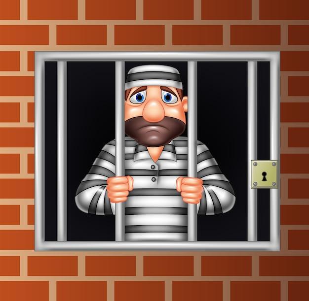 Criminal de dibujos animados en la cárcel