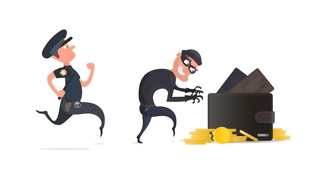 Un criminal roba una billetera con tarjetas de crédito y monedas de oro.