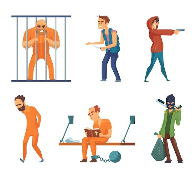 Criminales y presos. conjunto de personajes en estilo de dibujos animados.