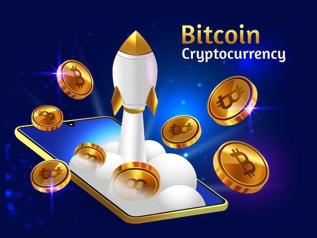 Criptomoneda bitcoin dorada con cohete booster y smartphone