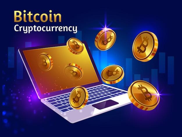 Criptomoneda bitcoin dorada con laptop