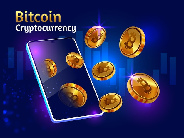 Criptomoneda bitcoin dorada con smartphone