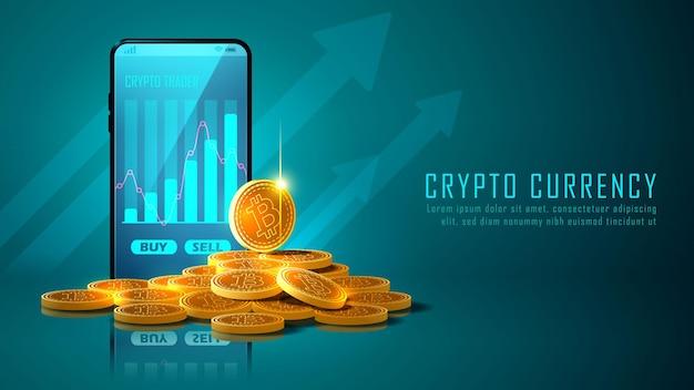 Criptomoneda bitcoin con pila de monedas y smartphone