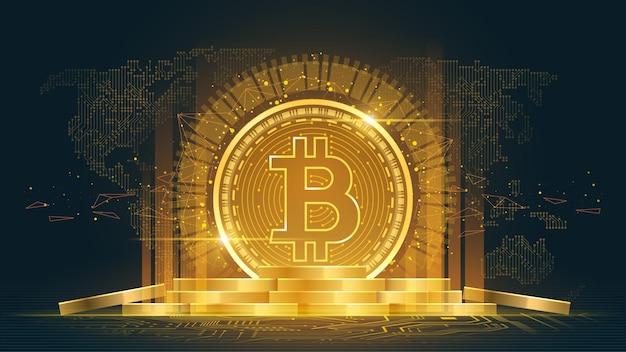 Criptomoneda bitcoin con pila de monedas