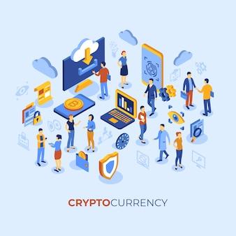 Criptomoneda bitcoin tecnología personajes infografía.