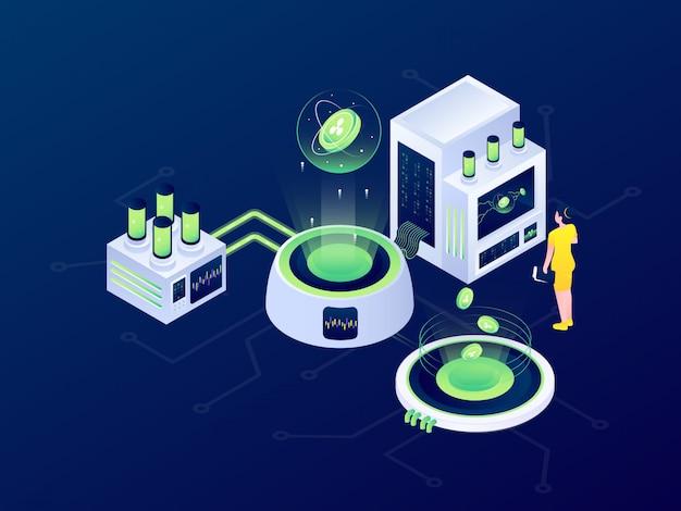 Criptomoneda blockchain minería bitcoin futurista isométrica diseño ilustración vectorial