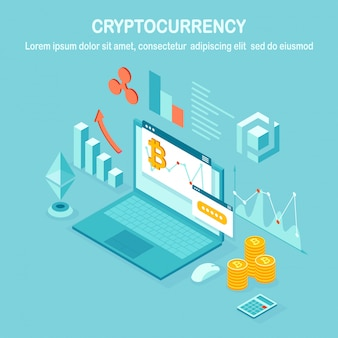 Criptomoneda y blockchain. minería de bitcoins. pago digital con dinero virtual, finanzas.