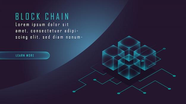 Criptomoneda y cadena de bloques isométrica