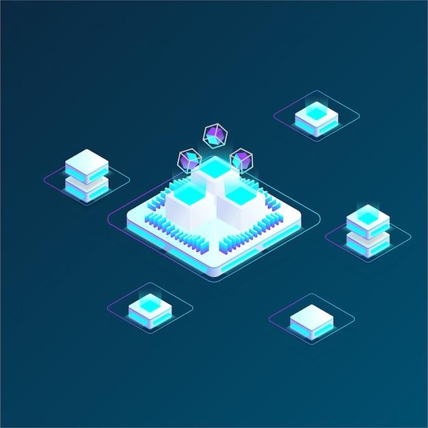 Criptomoneda y composición isométrica de blockchain, analistas y gerentes que trabajan en el inicio de criptografía, analistas de datos. ilustración vectorial isométrica