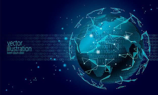 Criptomoneda global global de blockchain, fondo del planeta planet