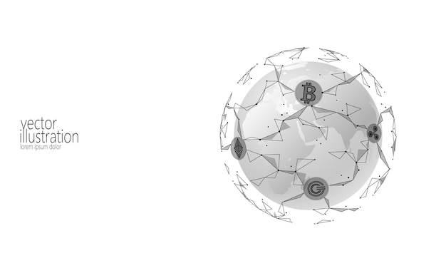 Criptomoneda global global de blockchain, planet space low poly