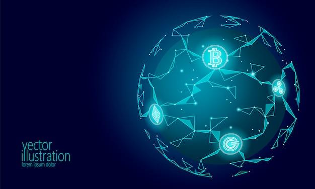 Criptomoneda internacional global de bitcoin, vector del futuro moderno de planet space low poly