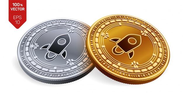 Criptomoneda monedas de oro y plata con el símbolo estelar aislado sobre fondo blanco.