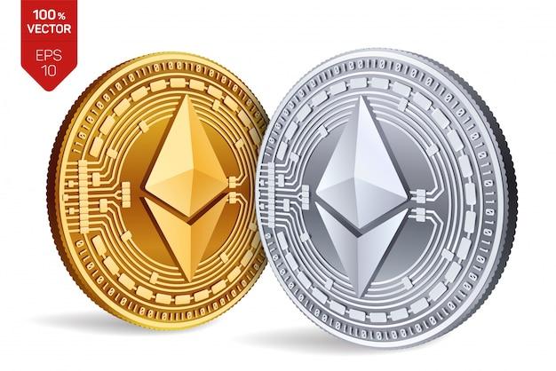 Criptomoneda monedas de oro y plata con el símbolo ethereum aislado sobre fondo blanco.