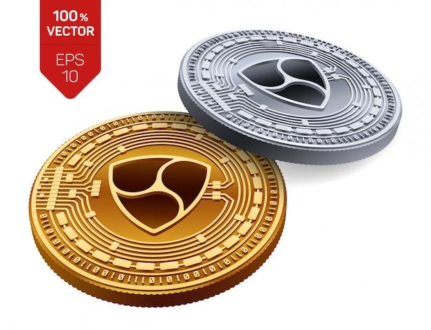 Criptomoneda monedas de oro y plata con el símbolo nem aislado sobre fondo blanco.
