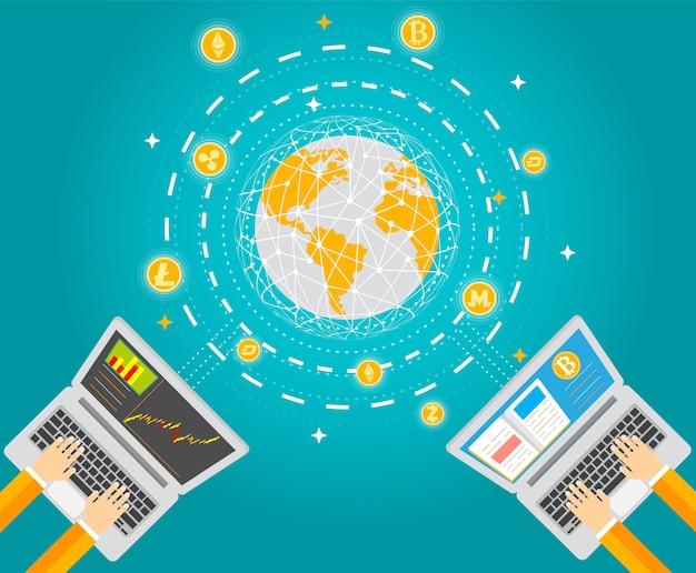 Criptomoneda y tecnología del dinero digital.