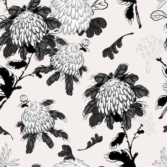 Crisantemo floreciente de vector en estilo chino