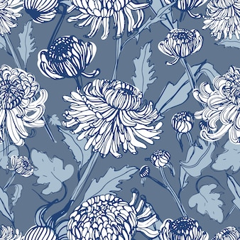 Crisantemo japonés dibujado a mano de patrones sin fisuras con brotes, flores, hojas. ilustración de estilo vintage