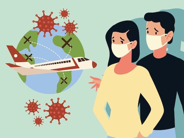 Crisis aerolínea y negocio de turismo de viajes por el brote de la enfermedad coronavirus covid 19