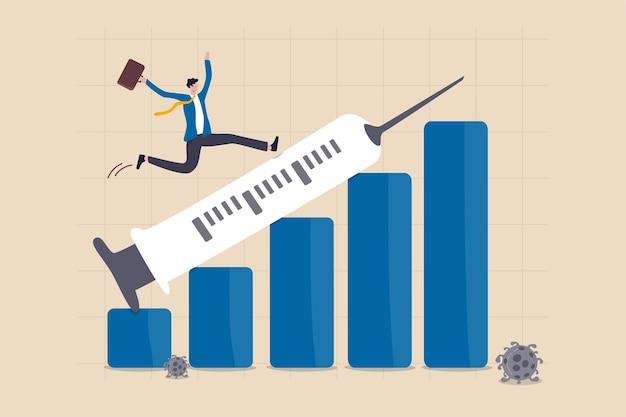 La crisis financiera y económica se recupera del colapso de covid-19 con el concepto de descubrimiento de la vacuna de coronavirus, empresario inversionista feliz corriendo con una jeringa apuntando hacia arriba en el gráfico de barras financieras de ganancias de crecimiento.