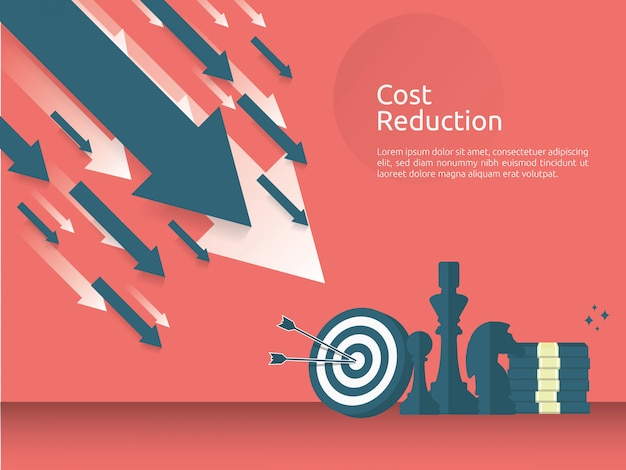 Crisis financiera empresarial o concepto de estrategia de reducción de costes.