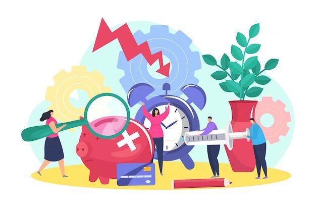 Crisis financiera, idea de negocio caída concepto, ilustración. personaje de dibujos animados de personas cerca de flecha de recesión, pérdida de dinero.
