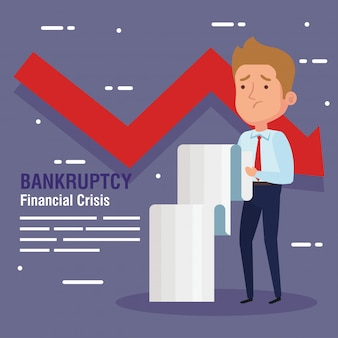 Crisis financiera de quiebra, con empresario, comprobante de recibo y flecha hacia abajo