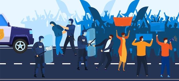 La crisis política, la manifestación y la policía se resisten a la ilustración de la gente que protesta.