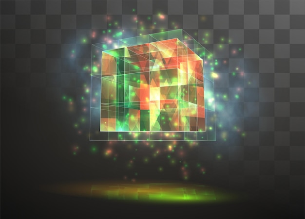 Cristal 3d sobre un fondo transparente reemplazable. energía y magia.