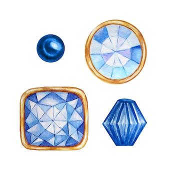 Cristal azul en un marco de oro y cuentas de joyería. conjunto de diamantes de acuarela dibujada a mano.